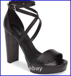 NEW Michael Kors Womens Charlize Leather Platform Sandal S/8 Black Heel Shoes