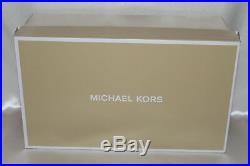 NEW NIB MICHAEL KORS Luggage Leather MK PLATE Flat T-Strap Thong Sandal 7.5.8 10