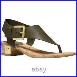NEW NMICHAEL Michael Kors Cork London Leather T-Strap Thong Sandals Shoes SZ 8.5