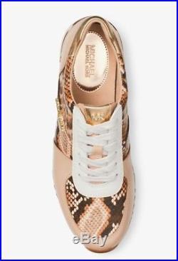 NIB $135 MICHAEL Michael Kors ALLIE Snake-Embossed Leather Sneakers TRUFFLE