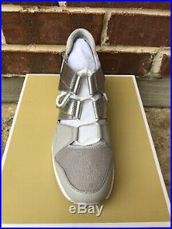 NIB $150 Michael Kors Beckett Aluminum/Silver Trainer Wedge Sneakers Sz 10M