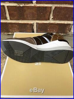 NIB $150 Michael Kors Beckett Gold/Gunmetal Trainer Wedge Sneakers Sz 9.5M