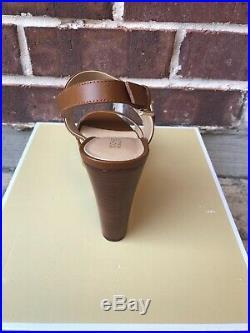NIB $155 MICHAEL KORS Deanna Luggage Leather Wedge Sz 8M