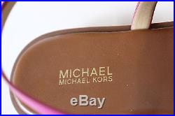 NIB MICHAEL KORS 9 Women's Fuchsia/Brown Leather Lined SONDRA THONG MK Sandal