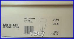 NIB MICHAEL KORS HARLAND RIDING BOOTS BLACK-MOCHA Size 7 8