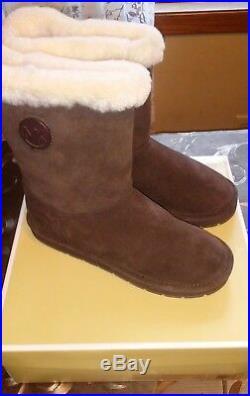 NIB MICHAEL KORS MK Winter Shearling Coffee Suede Mid Boots Womens Size 8M
