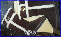 NIB MICHAEL KORS MK Winter Shearling Coffee Suede TALL Boots Womens Size 8M