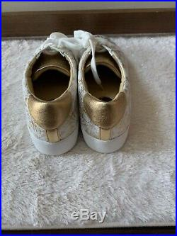 NIB MICHAEL KORS POPPY LACE SNEAKERS Embossed Leather SHOES White/Gold Size 8