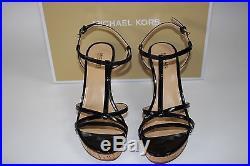 NIB MICHAEL KORS Size 6.5 Women's Black Patent Leather/Cork KAMI WEDGE Sandal