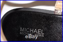 NIB MICHAEL KORS Size 7.5 Womens Natural Embossed Leather SONDRA THONG MK Sandal
