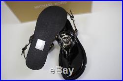 NIB MICHAEL KORS Size 7 Women's Black Patent CAPRI THONG Ankle Strap Sandal