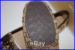 NIB MICHAEL KORS Size 7 Women's Mocha MK Monogram Jacquard HAMILTON Loafer