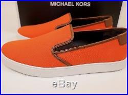 NIB MICHAEL KORS Size 8.5 Men's Poppy Canvas Brown Leather EVAN Slip On Sneaker