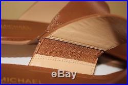 NIB MICHAEL KORS Size 8.5 Womens Metallic Luggage Leather MILLIE SLIDE Sandal