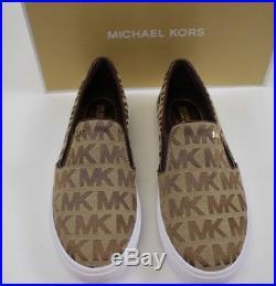 NIB MICHAEL KORS Size 9 Women's Mocha MK Signature Jacquard BOERUM Sneaker