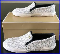 NIB MICHAEL KORS Womens Shoes Size 9.5 BOERUM DOUBLE GORE MK SIGNATURE PVC NAVY
