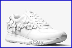 11e1049be0fe NIB MICHAEL Michael Kors Allie Floral Appliqué Leather Sneaker Optic White   165