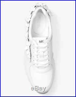 NIB MICHAEL Michael Kors Allie Floral Appliqué Leather Sneaker Optic White $165