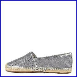 NIB MICHAEL Michael Kors Kendrick Glitter Mesh Espadrilles Silver Women's Size 9