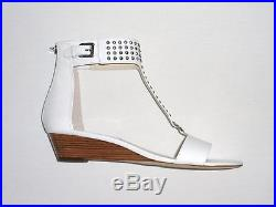 NIB MSRP $150 MICHAEL KORS Celena Wedge Sandals with Mini Studs, White, Leather