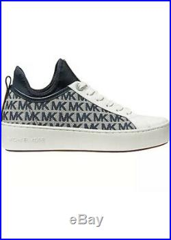 NIB Michael Kors Ace Logo Print Lace-Up Shoes Sneakers Size 6.5 M Ivory Denim