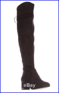 NIB Michael Kors Coffee Jamie Over-The-Knee Stretch Suede Boots Gold Chain 8M