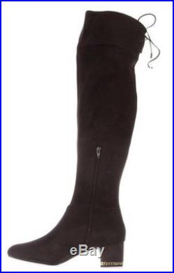 f59d84aca7a NIB Michael Kors Coffee Jamie Over-The-Knee Stretch Suede Boots Gold Chain  8M