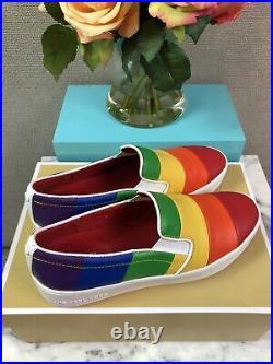 NIB Michael Kors Dylan Leather Rainbow Slip-On Pride Womens Sneakers Shoes 8.5M