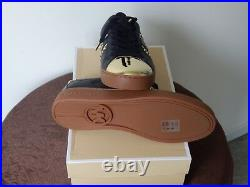 NIB Michael Kors Frankie Stripe Leather Sneaker Shoes Black Pale Gold 7.5 8.5