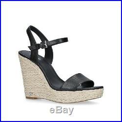 NIB Michael Kors Jill Espadrille Leather Wedge Platform Sandals In Black Size 7