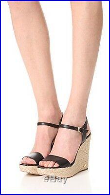 NIB Michael Kors Jill Espadrille Leather Wedge Platform Sandals In Black Sz 7.5