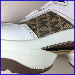 NIB Michael Kors Olympia Trainer Dad Shoes Sneakers Beige Ebony Logo Size 11M