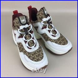 NIB Michael Kors Olympia Trainer Dad Shoes Sneakers Beige Ebony Logo Size 9M