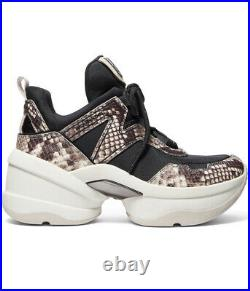 NIB Michael Kors Olympia Trainer Dad Shoes Sneakers Black/natural Size 11M
