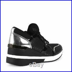 NIB Michael Kors Scout Trainer Scuba Sneakers Black Silver Women's Sz 9.5 10