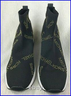 NIB! Michael Kors Skyler Bootie Black Sneakers Shoes Slip On Womens Size US 9M