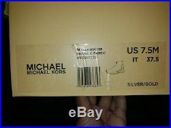 NIB Michael Kors Skyler Knit Sneakers Bootie Metallic Gold/Silver Size 7.5