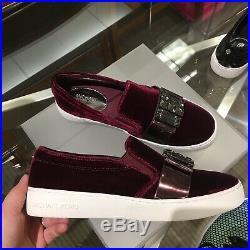 NIB Michael Kors Sneaker Michelle Slip-On Velvet Crystal Embellished Shoes 7M