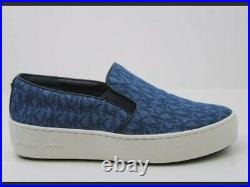 NIB Michael Kors Womens 8.5M Trent Slip-On Platform Sneakers Shoes Printed Denim