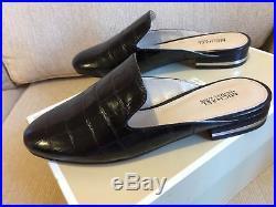 NIB Michael Kors Womens Natasha Mules Clogs Slide Embossed Leather BLACK 7