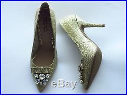NIB Michael Kors felicity goldtone glitter jewel bow heels pumps shoes size 7