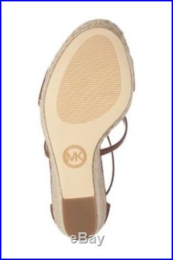 NIB New Michael Kors Suki Wedge Platform Sandals Luggage Size 7