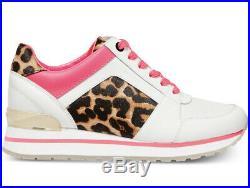 NIB Size 10 Michael Kors Billie Trainer Sneakers Shoes White Pink Cheetah