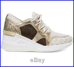 NIB Size 10 Michael Kors Liv Trainer Sneaker Logo Cream Gold Brown Wedge $145 FM