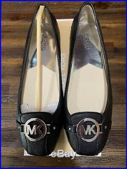 NIB Size 11 Michael Kors Fulton MK Moc Black & Silver MK Leather Ballerina Flat