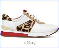 NIB Size 5.5 MICHAEL KORS Allie Trainer Leather Sneaker White Cheetah Red