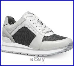 NIB Size 5.5 Michael Kors Billie Trainer Sneaker Shoe Leather Black Multi Silver