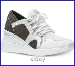 NIB Size 5.5 Michael Kors Liv Trainer Sneaker Logo Brown Black White Wedge FM