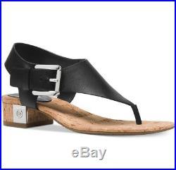 NIB Size 5.5 Michael Kors London Black Leather T-Strap City Sandals $125 Retail
