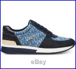 NIB Size 5 MICHAEL KORS Allie Trainer Sneaker Denim Blue Jean MK Logo